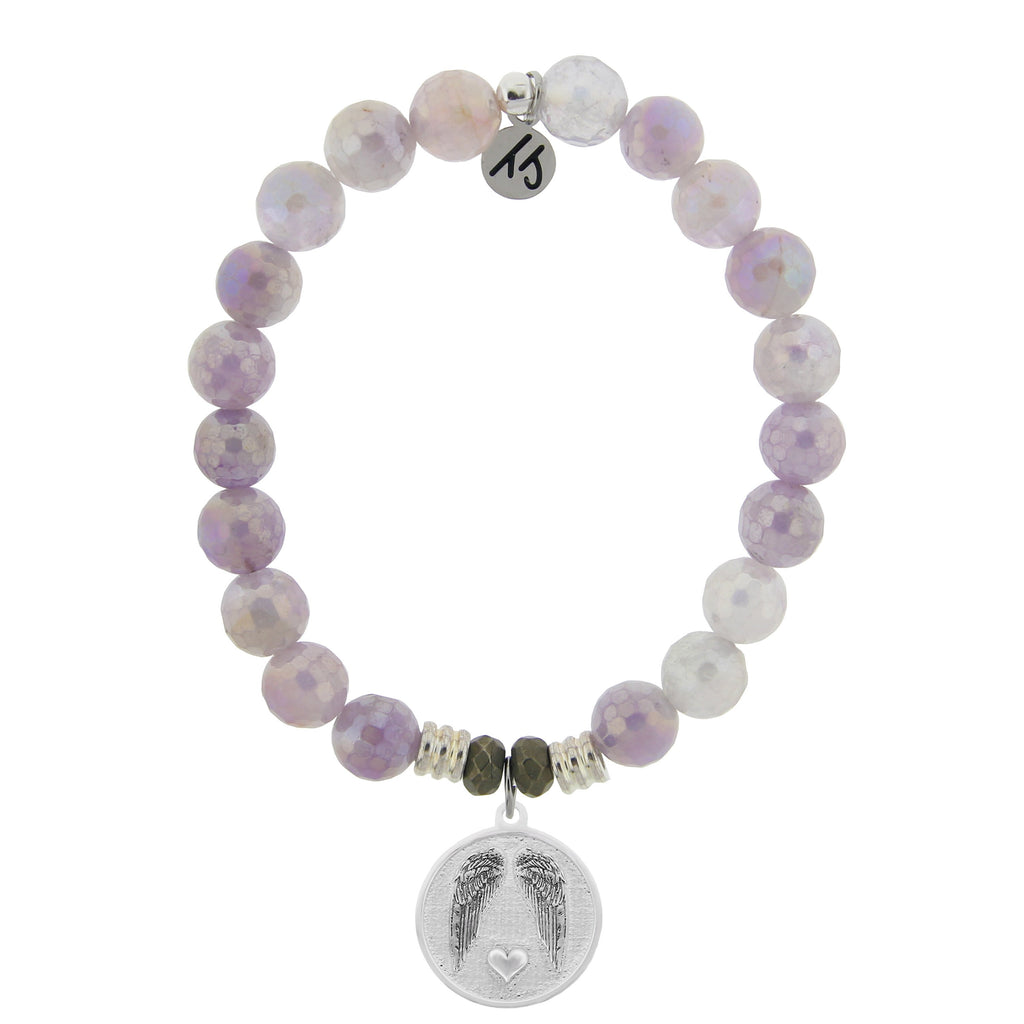 Mauve Jade Stone Bracelet with Guardian Sterling Silver Charm