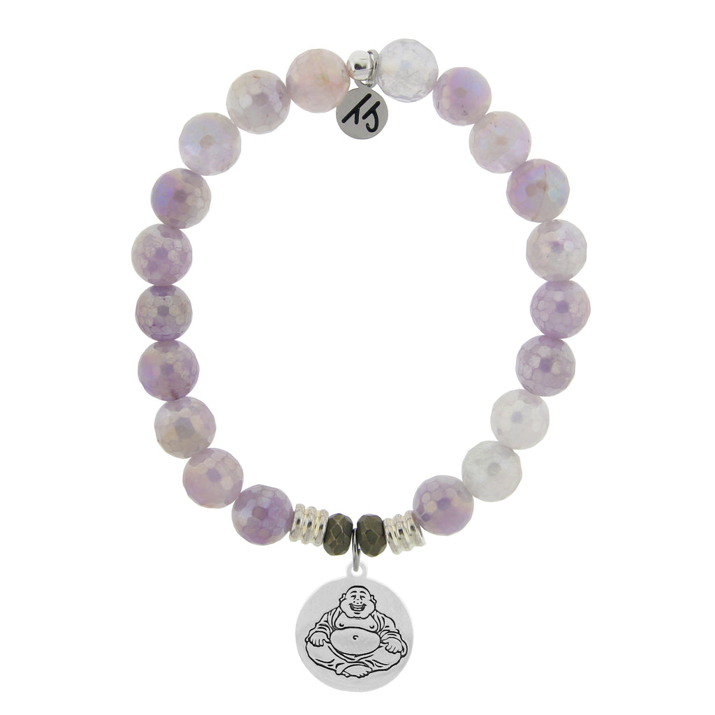 Mauve Jade Stone Bracelet with Happy Buddha Sterling Silver Charm