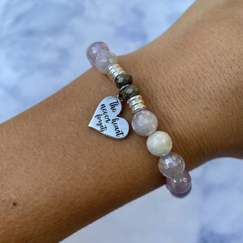 Mauve Jade Stone Bracelet with Heart Never Forgets Sterling Silver Charm