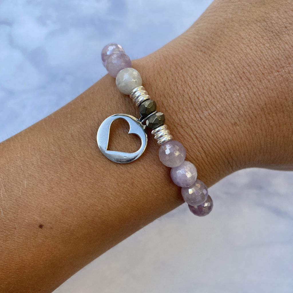 Mauve Jade Stone Bracelet with Heart Sterling Silver Charm