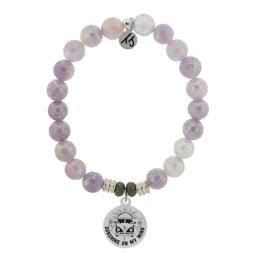 Mauve Jade Stone Bracelet with Life's a Journey Sterling Silver Charm