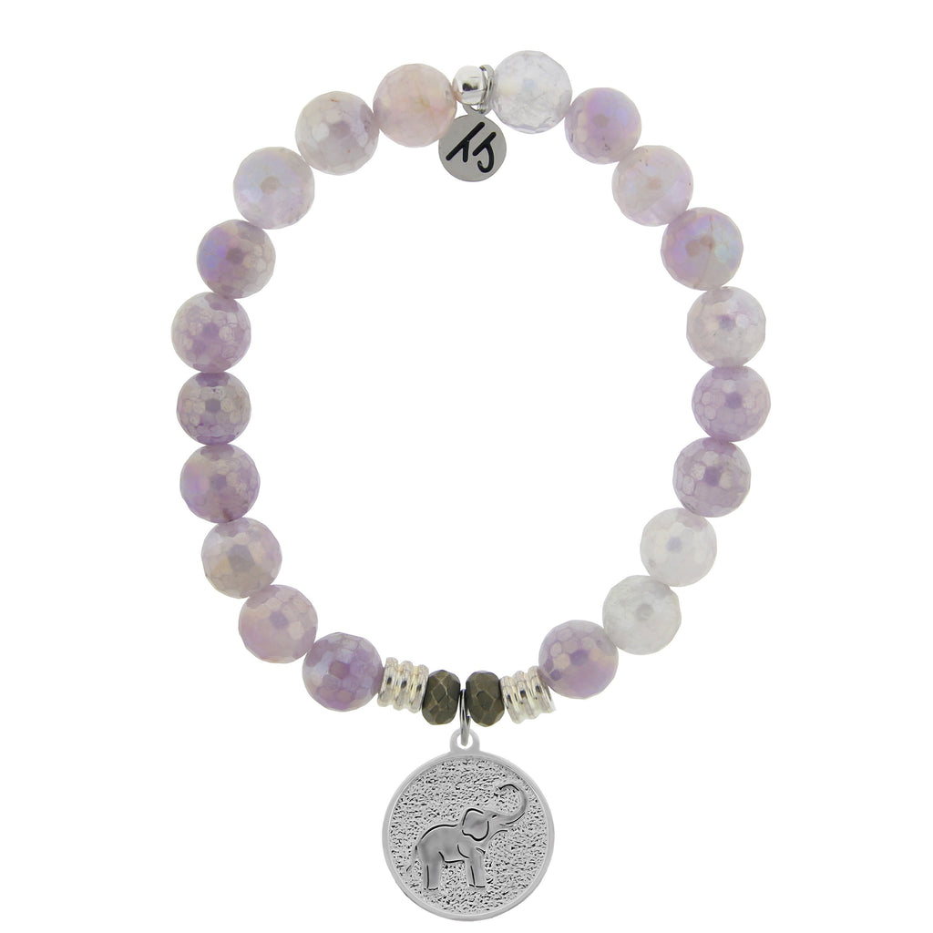 Mauve Jade Stone Bracelet with Lucky Elephant Sterling Silver Charm