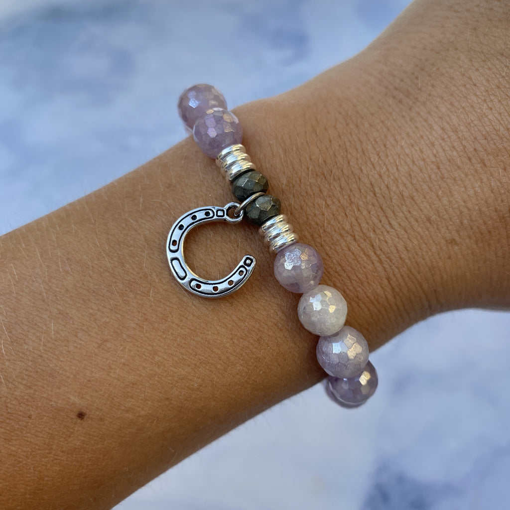 Mauve Jade Stone Bracelet with Lucky Horseshoe Sterling Silver Charm