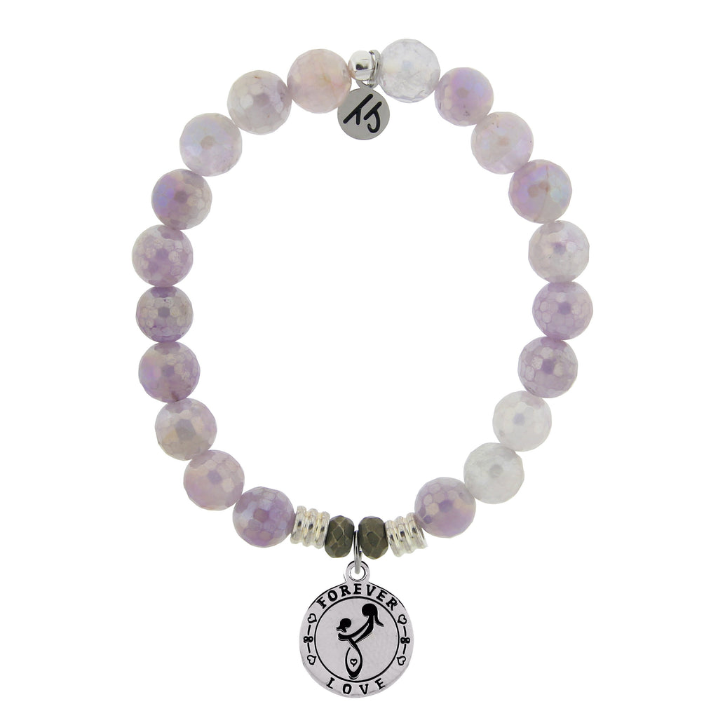 Mauve Jade Stone Bracelet with Mother's Love Sterling Silver Charm
