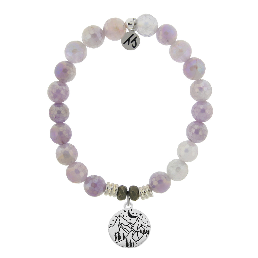 Mauve Jade Stone Bracelet with Mountain Sterling Silver Charm