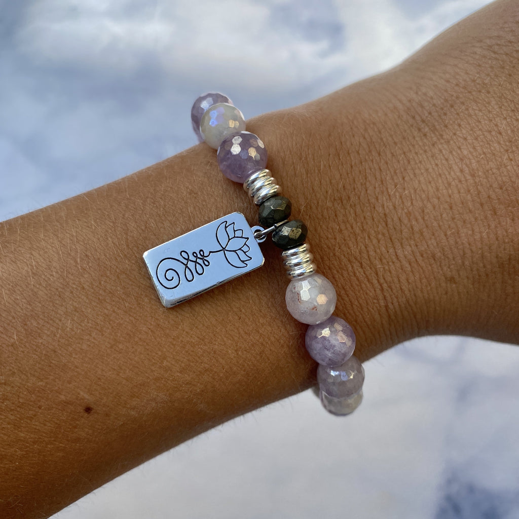 Mauve Jade Stone Bracelet with New Beginnings Sterling Silver Charm