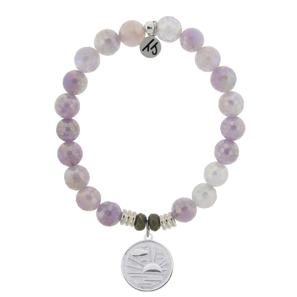 Mauve Jade Stone Bracelet with New Day Sterling Silver Charm