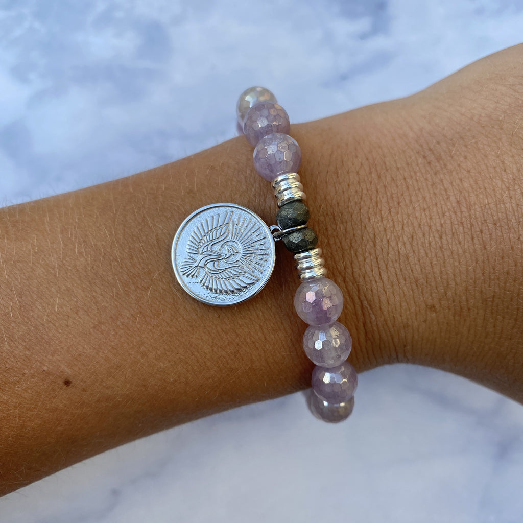 Mauve Jade Stone Bracelet with Phoenix Sterling Silver Charm