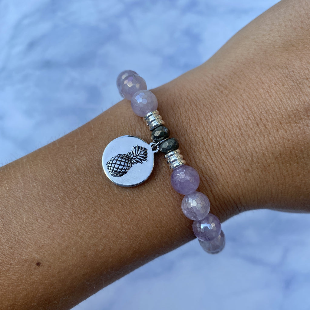 Mauve Jade Stone Bracelet with Pineapple Sterling Silver Charm
