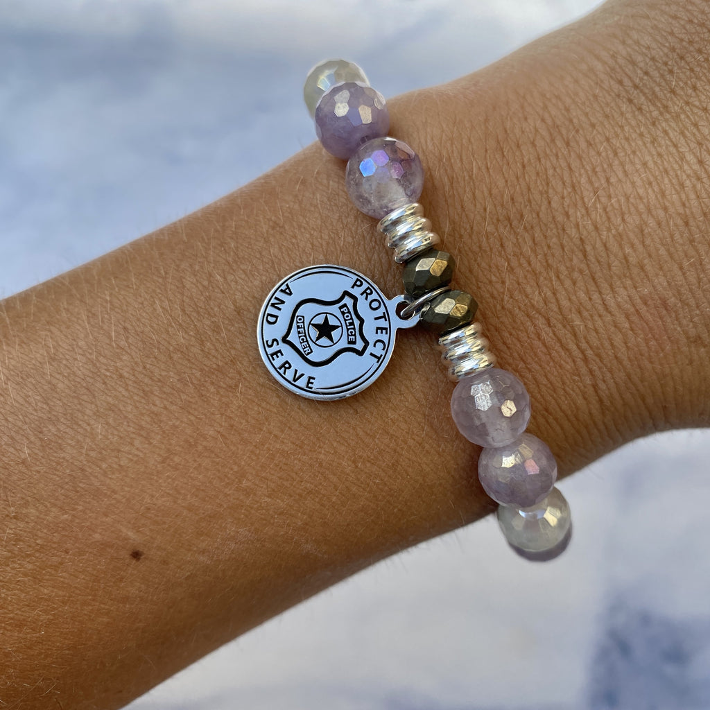 Mauve Jade Stone Bracelet with Police Sterling Silver Charm