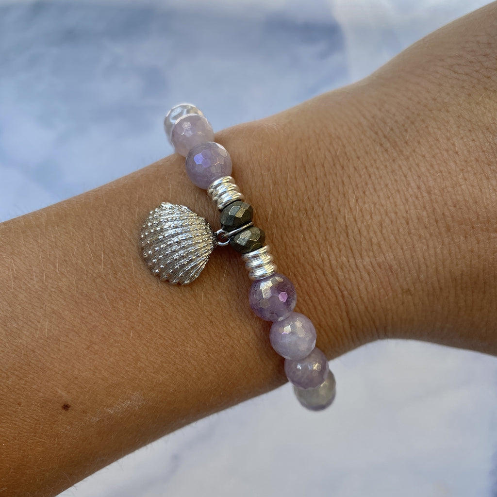 Mauve Jade Stone Bracelet with Seashell Sterling Silver Charm