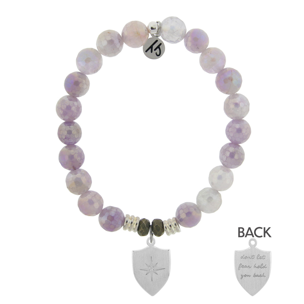 Mauve Jade Stone Bracelet with Shield of Strength Sterling Silver Charm