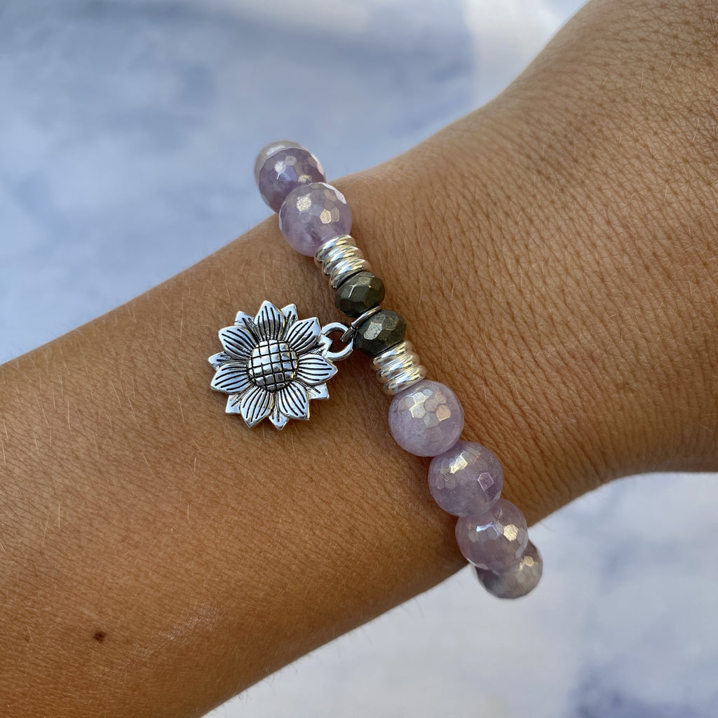 Mauve Jade Stone Bracelet with Sunflower Sterling Silver Charm
