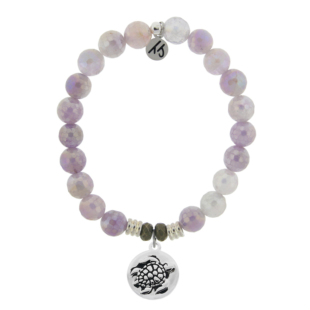 Mauve Jade Stone Bracelet with Turtle Sterling Silver Charm