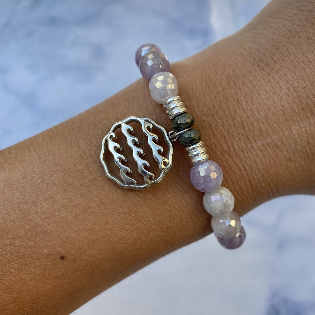 Mauve Jade Stone Bracelet with Waves of Life Sterling Silver Charm
