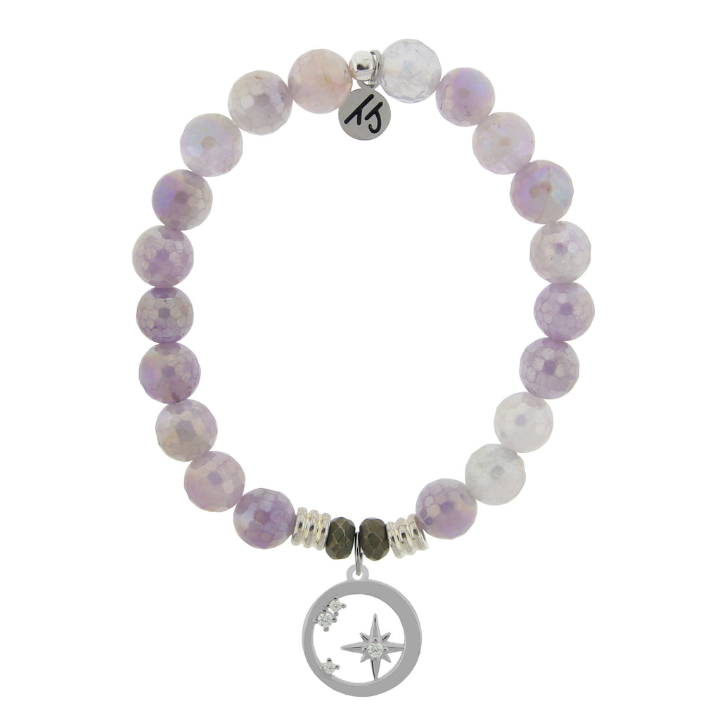 Mauve Jade Stone Bracelet with What is Meant to Be Sterling Silver Charm