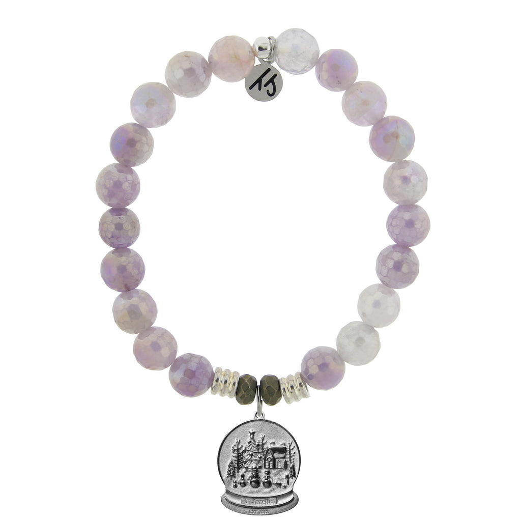 Mauve Jade Stone Bracelet with Winter Wonderland Sterling Silver Charm