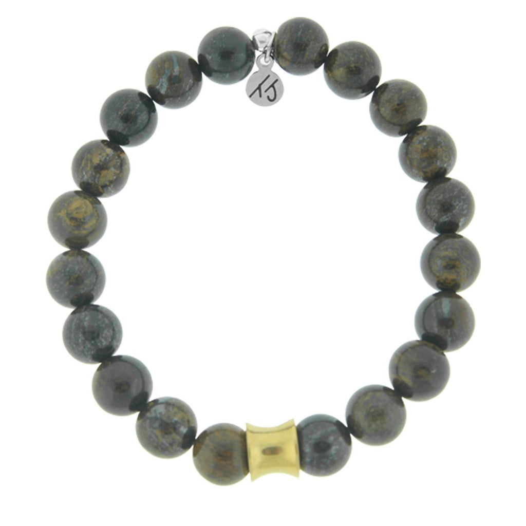 Men's Noble Stone Bracelet Collection - Bronzite with Gold Accent Beaded Bracelet