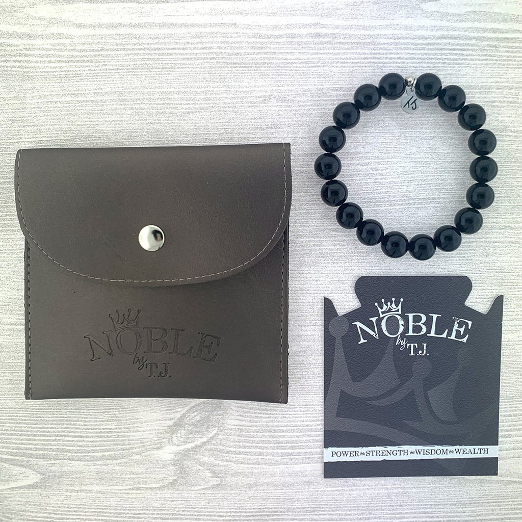 Men's Noble Stone Bracelet Collection - Classic Onyx Men's Beaded Bracelet