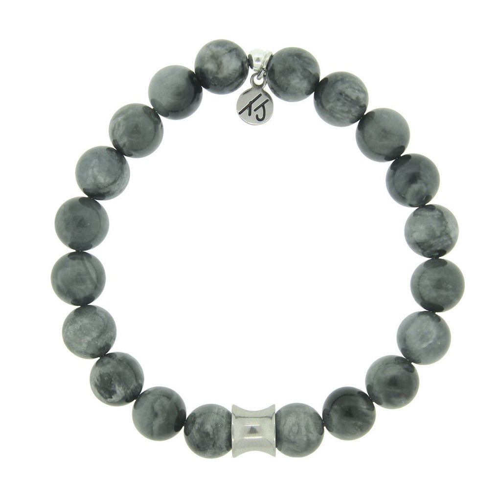 Men's Noble Stone Bracelet Collection-Grey Hawk Eye with Silver Accent Beaded Bracelet