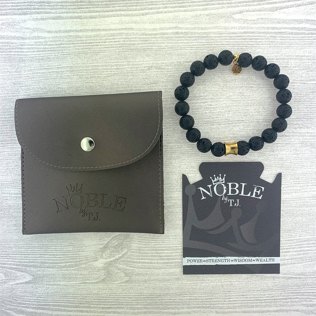 Men's Noble Stone Bracelet Collection - Lava Rock with Gold Accent Beaded Bracelet