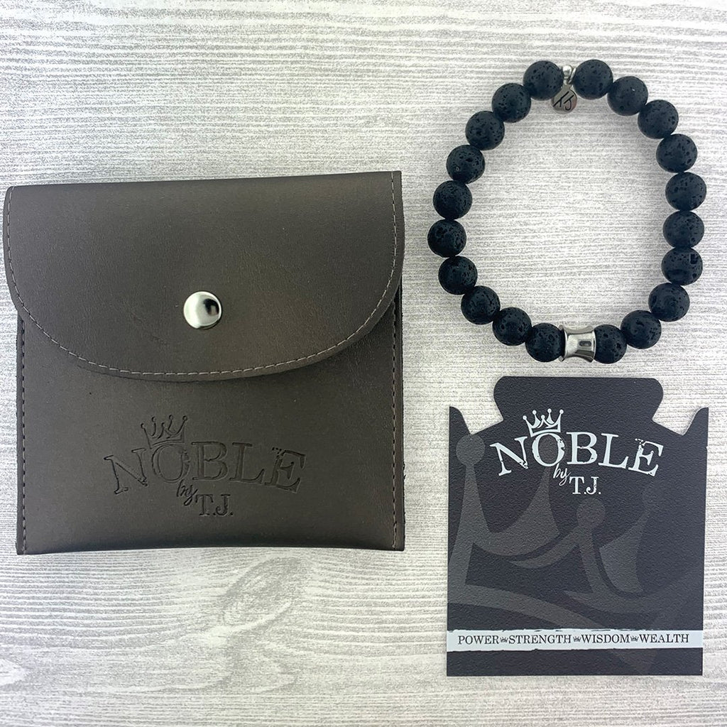 Men's Noble Stone Bracelet Collection-Lava Rock with Silver Accent Beaded Bracelet