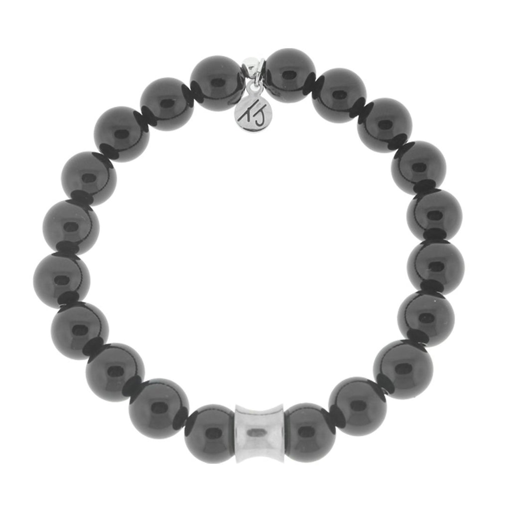 Men's Noble Stone Bracelet Collection- Onyx with Silver Accent Men's Beaded Bracelet