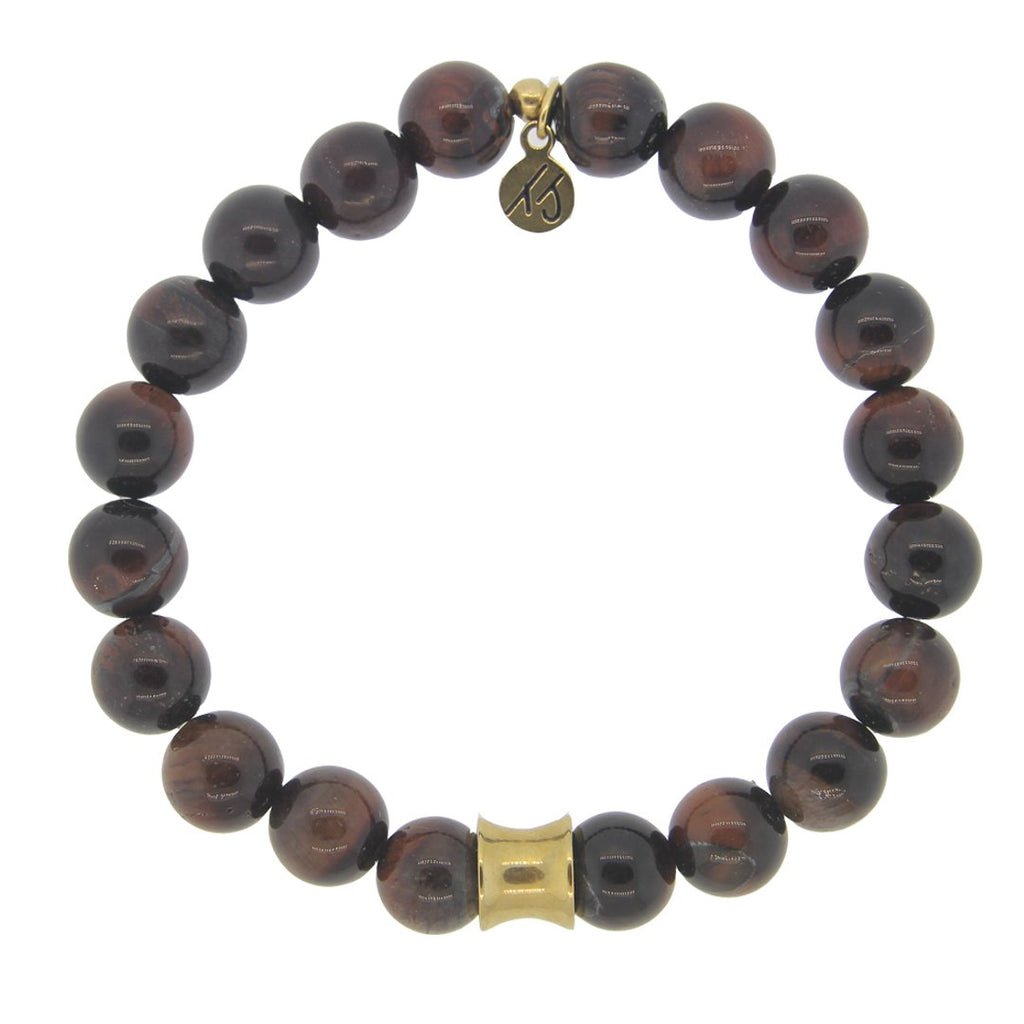 Men's Noble Stone Bracelet Collection-Red Tigers Eye with Gold Accent Beaded Bracelet