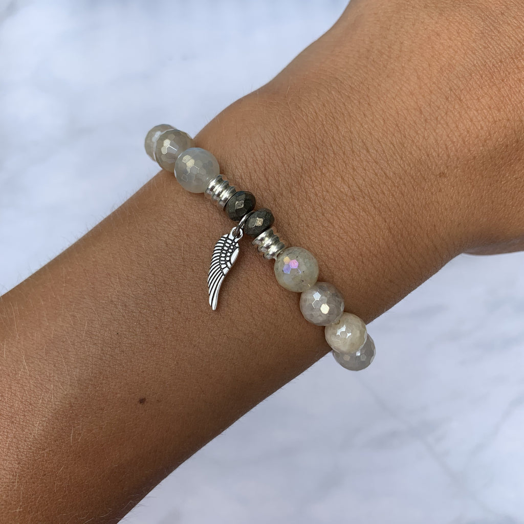 Moonstone Bracelet with Angel Wing Sterling Silver Charm