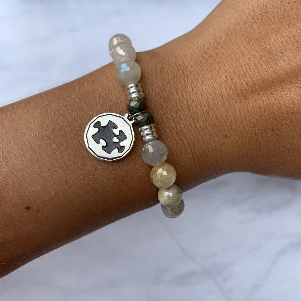 Moonstone Bracelet with Autism Awareness Sterling Silver Charm