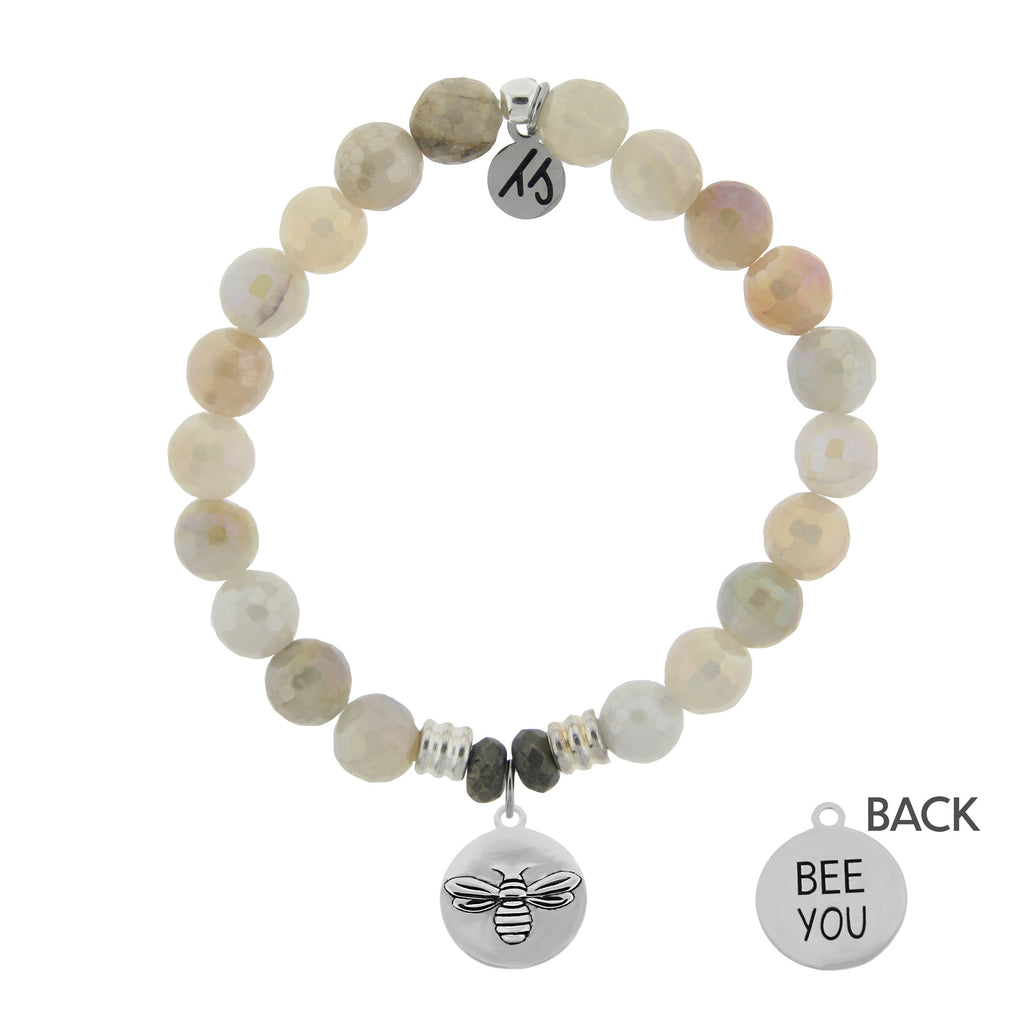 Moonstone Bracelet with Bee You Sterling Silver Charm
