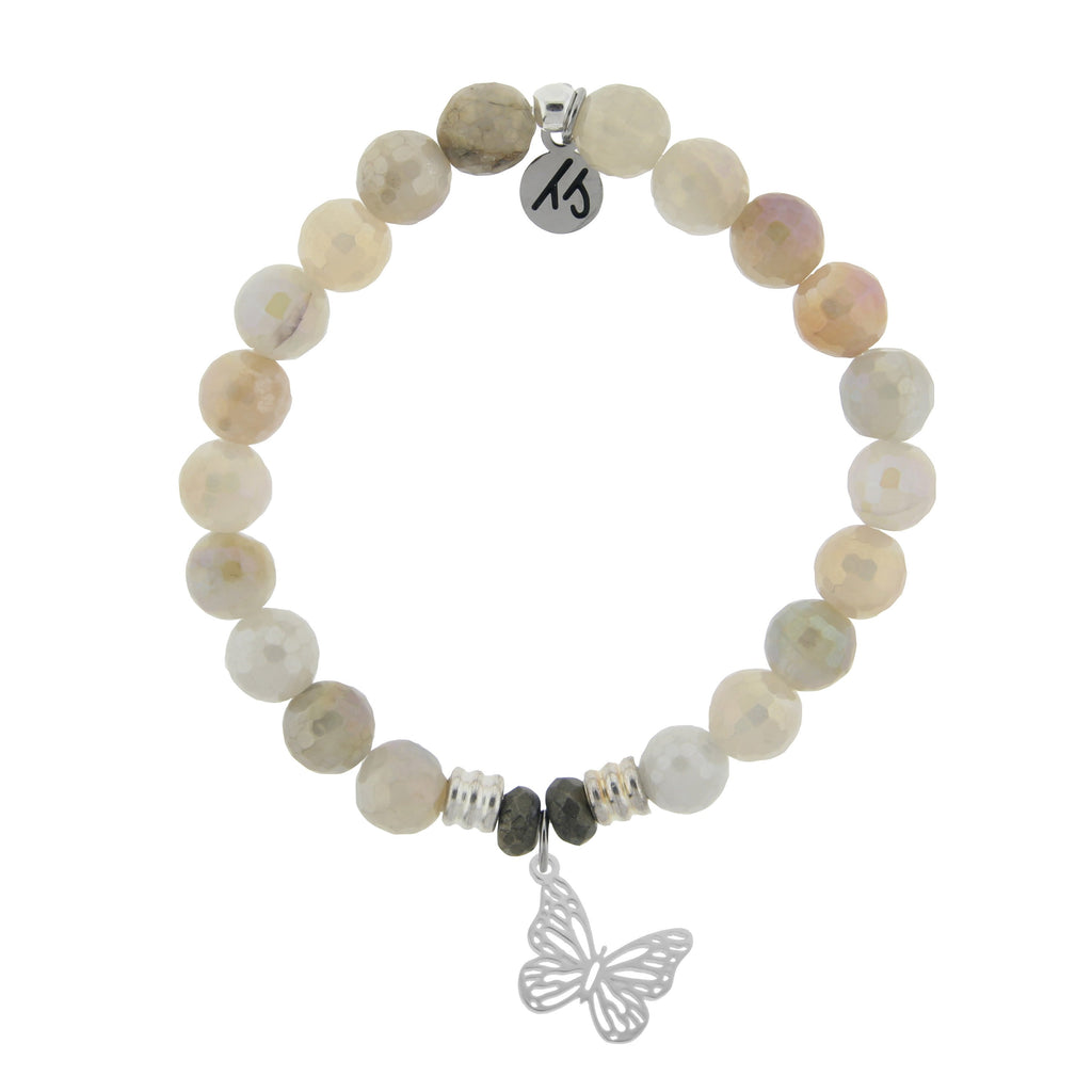 Moonstone Bracelet with Butterfly Sterling Silver Charm