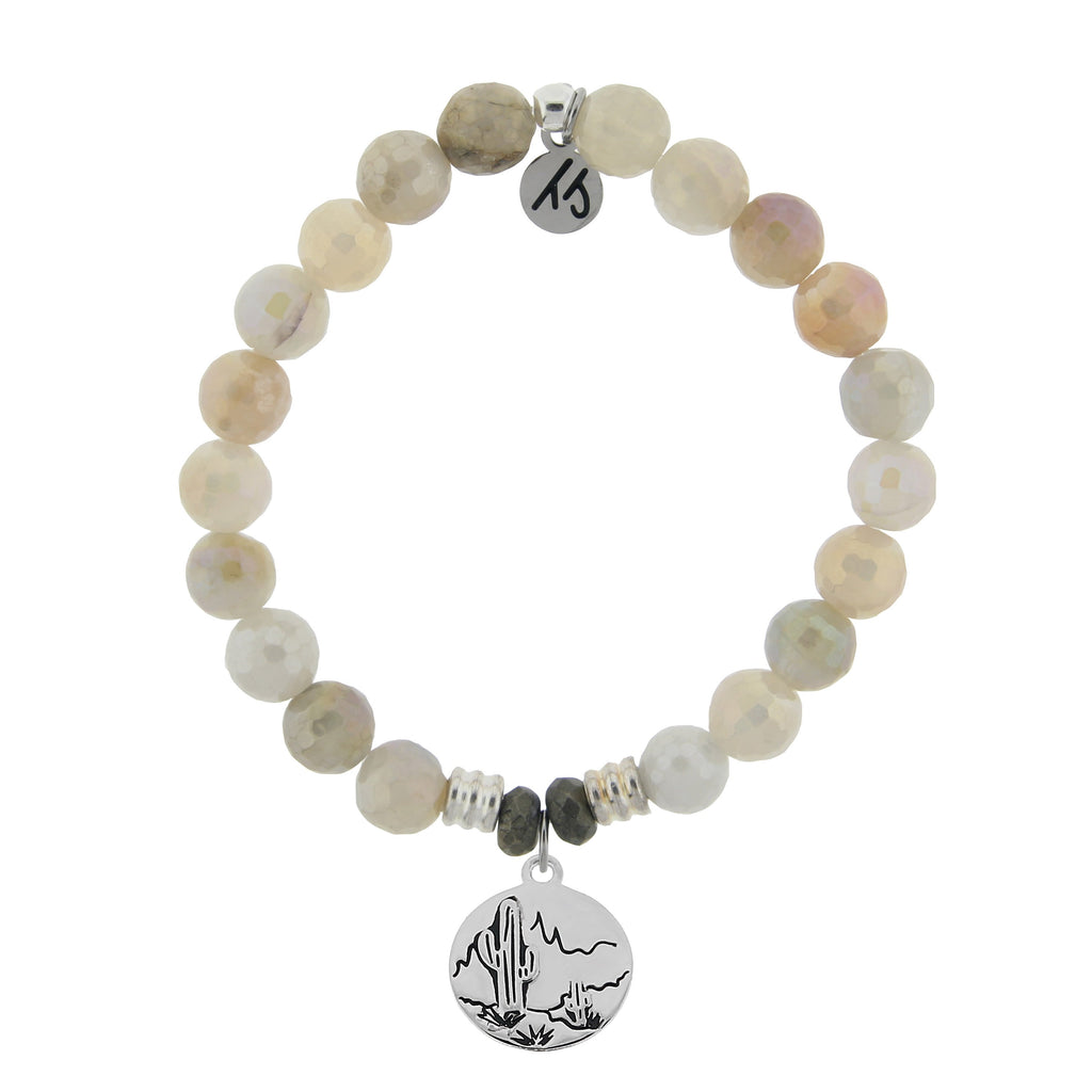 Moonstone Bracelet with Cactus Sterling Silver Charm