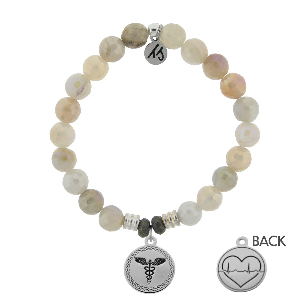 Moonstone Bracelet with Caduceus Sterling Silver Charm