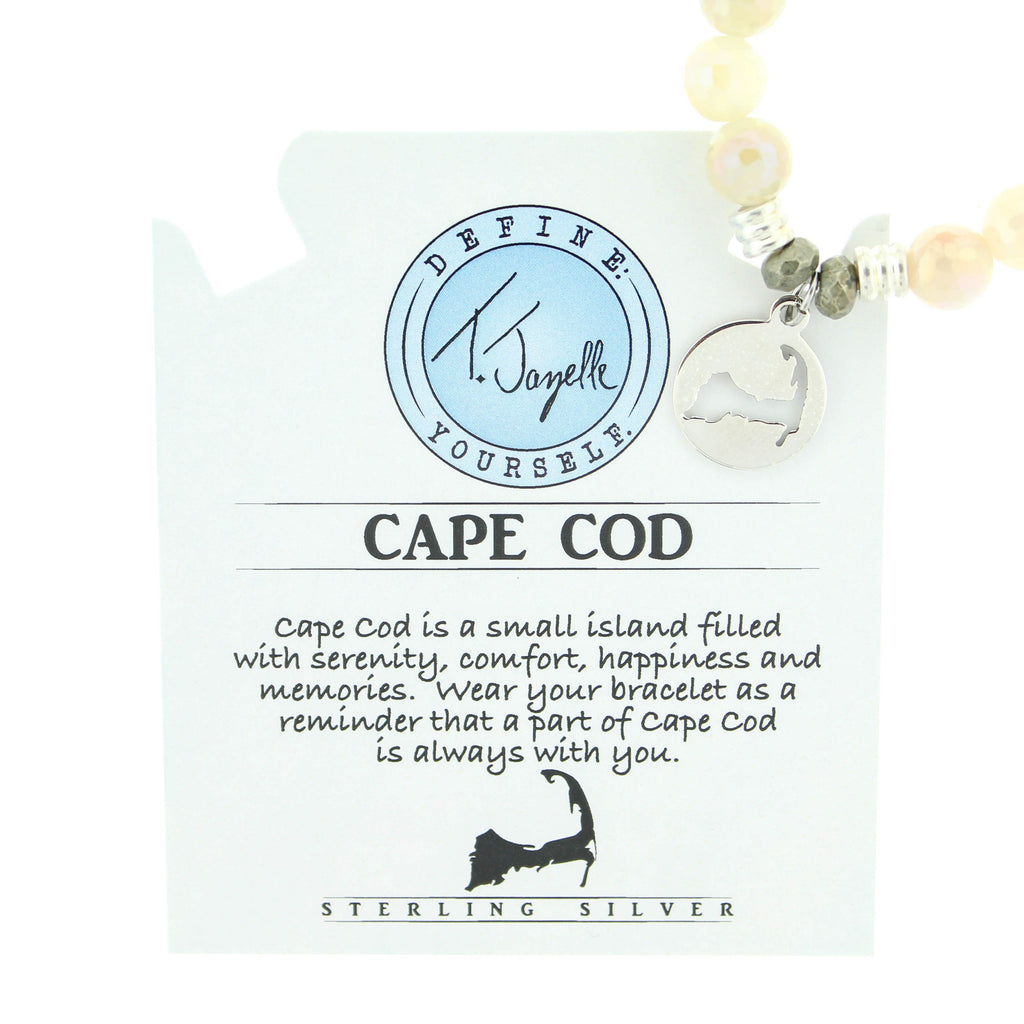 Moonstone Bracelet with Cape Cod Cutout Sterling Silver Charm