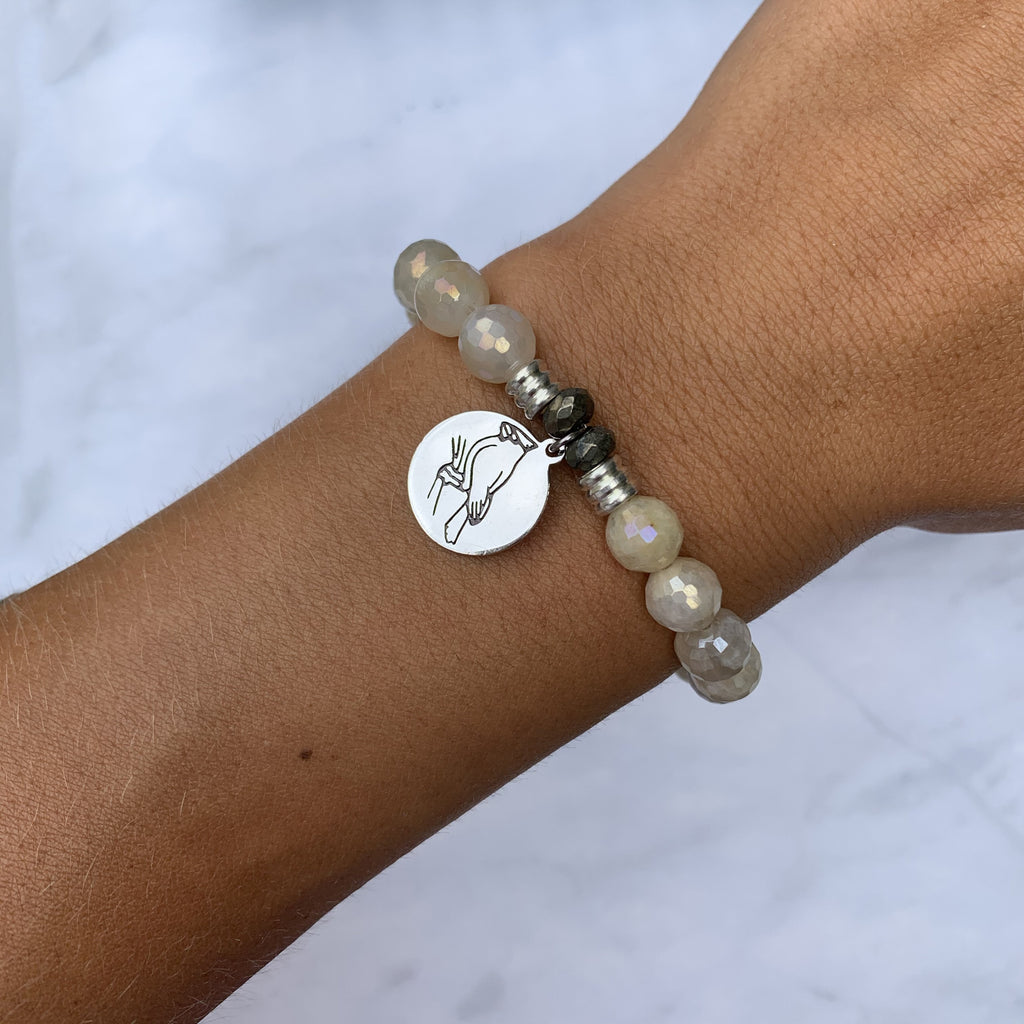 Moonstone Bracelet with Cardinal Sterling Silver Charm