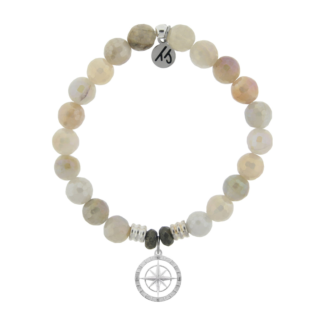 Moonstone Bracelet with Compass Rose Sterling Silver Charm