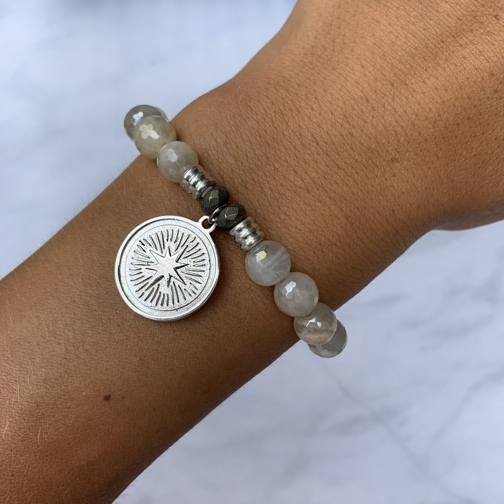 Moonstone Bracelet with Guidance Sterling Silver Charm