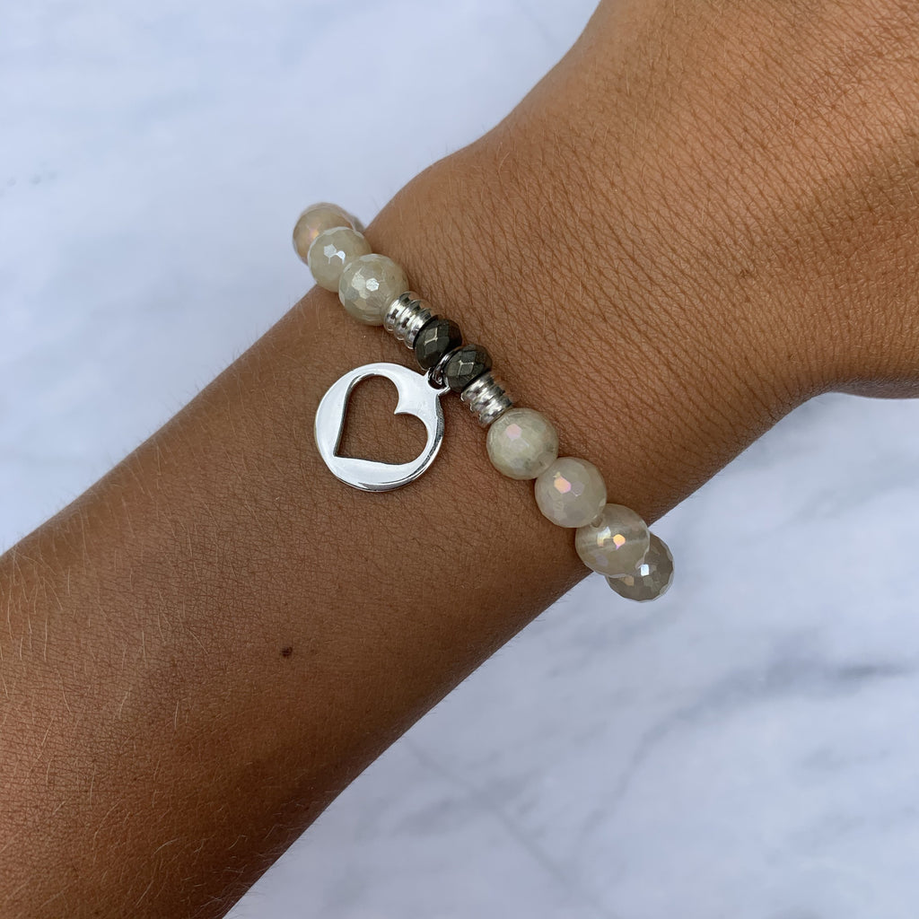 Moonstone Bracelet with Heart Sterling Silver Charm