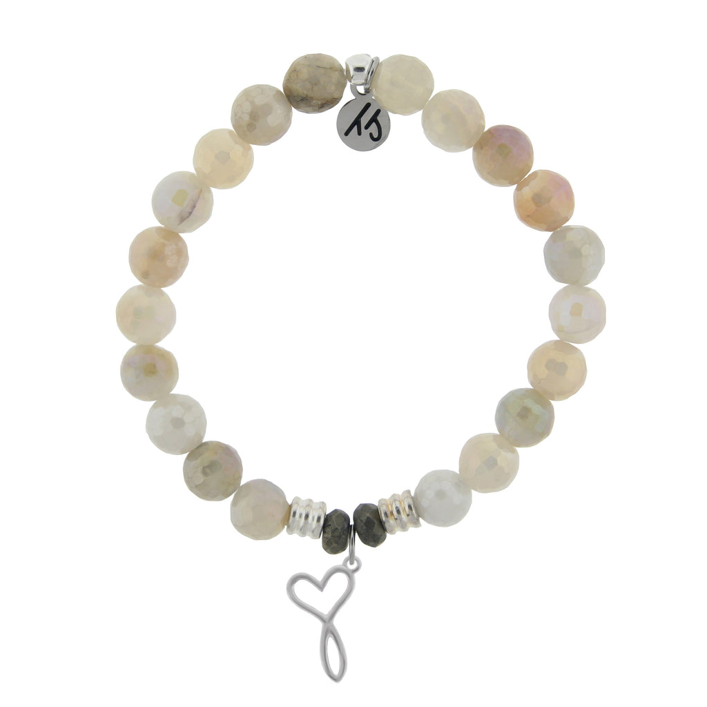 Moonstone Bracelet with Infinity Heart Sterling Silver Charm