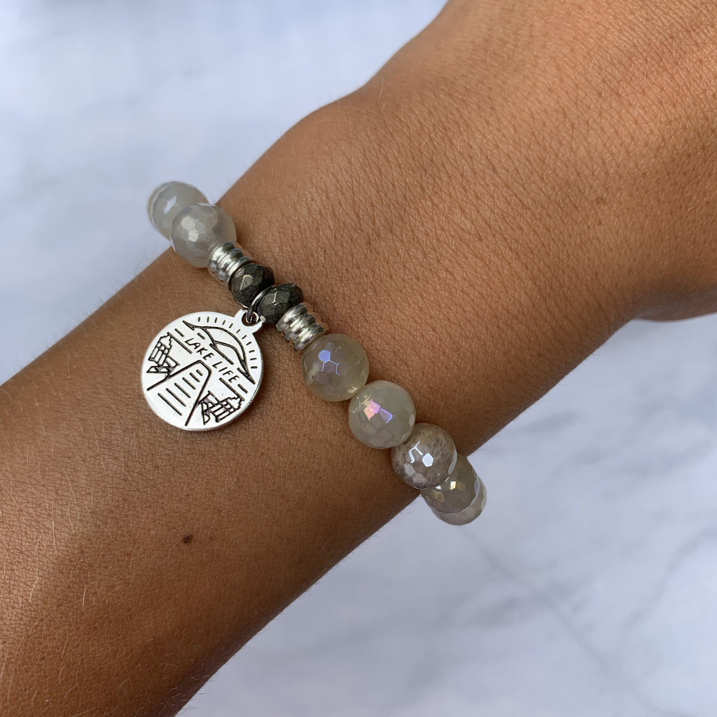 Moonstone Bracelet with Lake Life Sterling Silver Charm