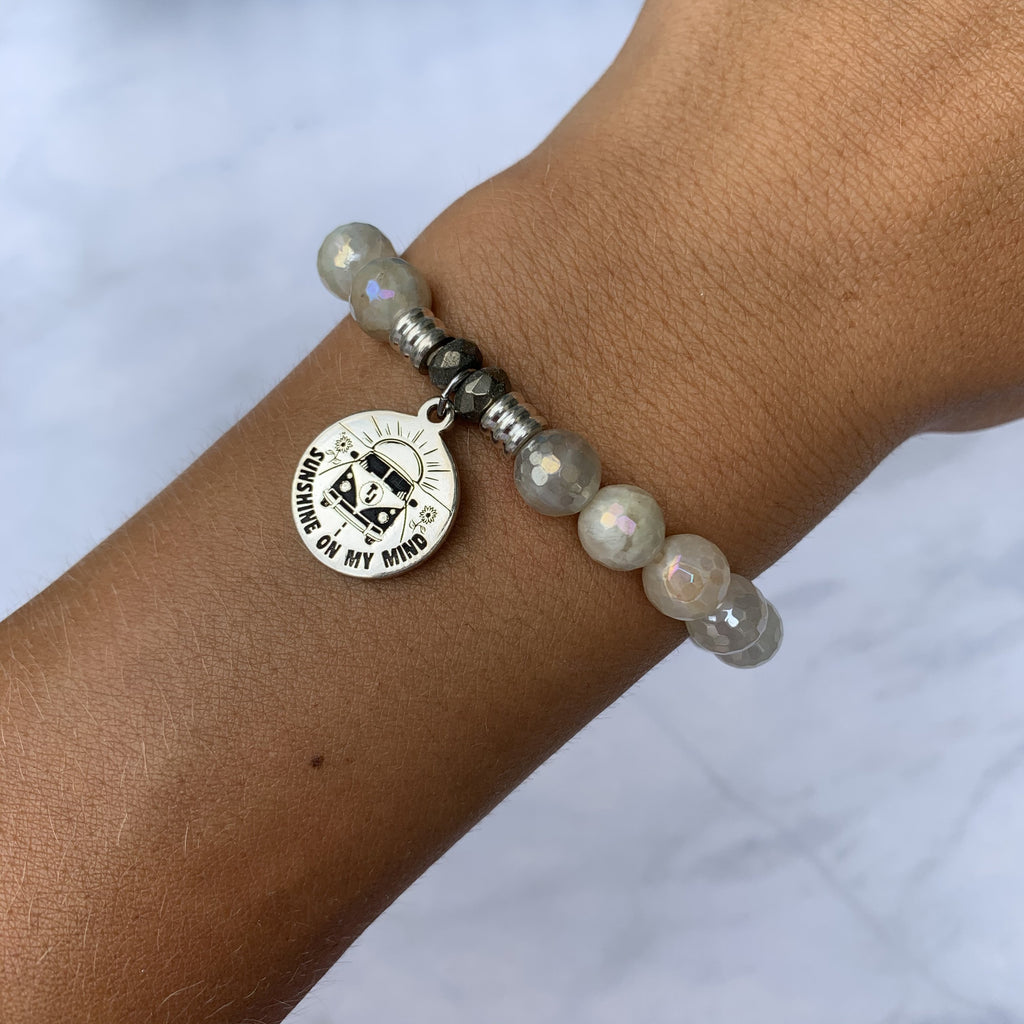 Moonstone Bracelet with Life's A Journey Sterling Silver Charm