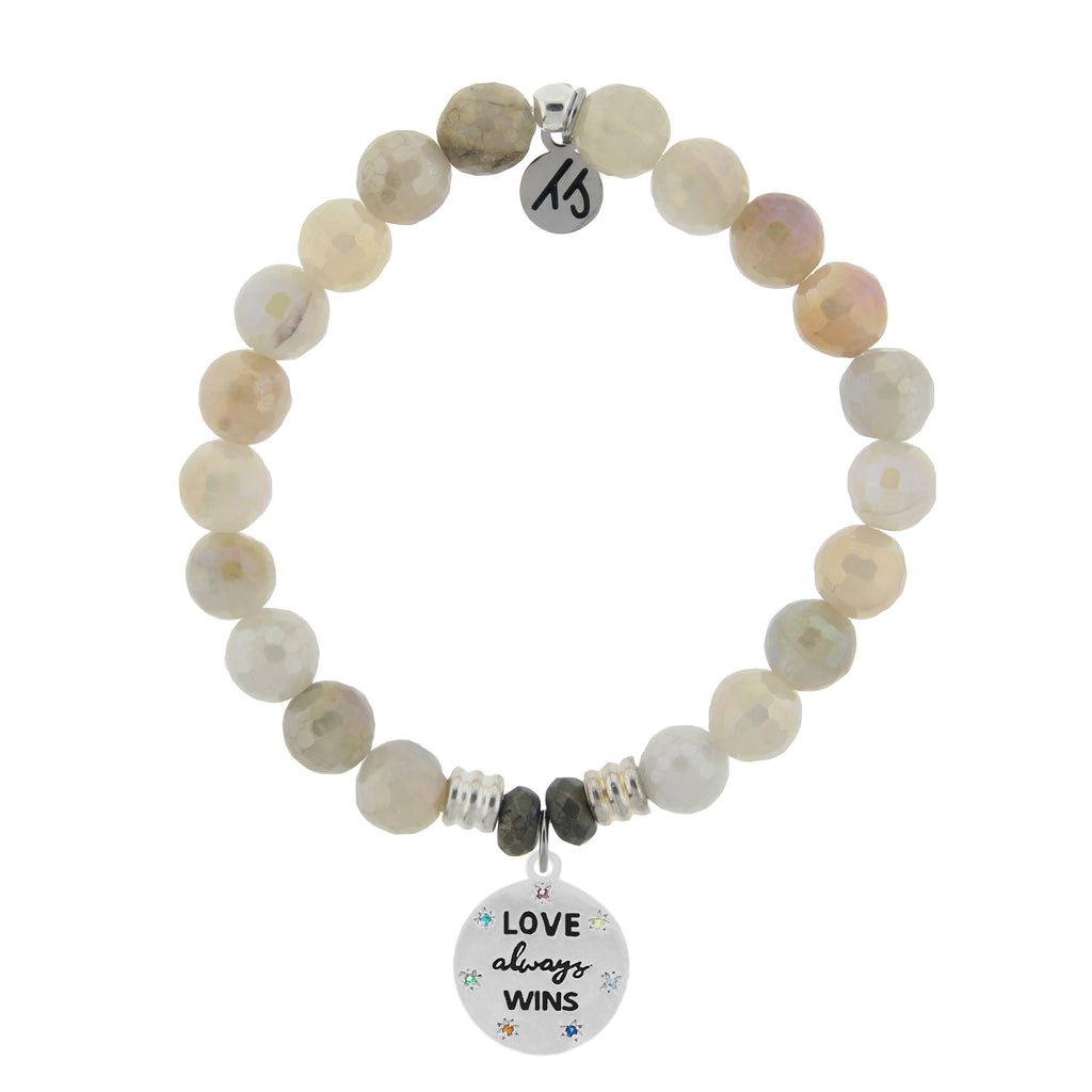 Moonstone Bracelet with Love Always Wins Sterling Silver Charm