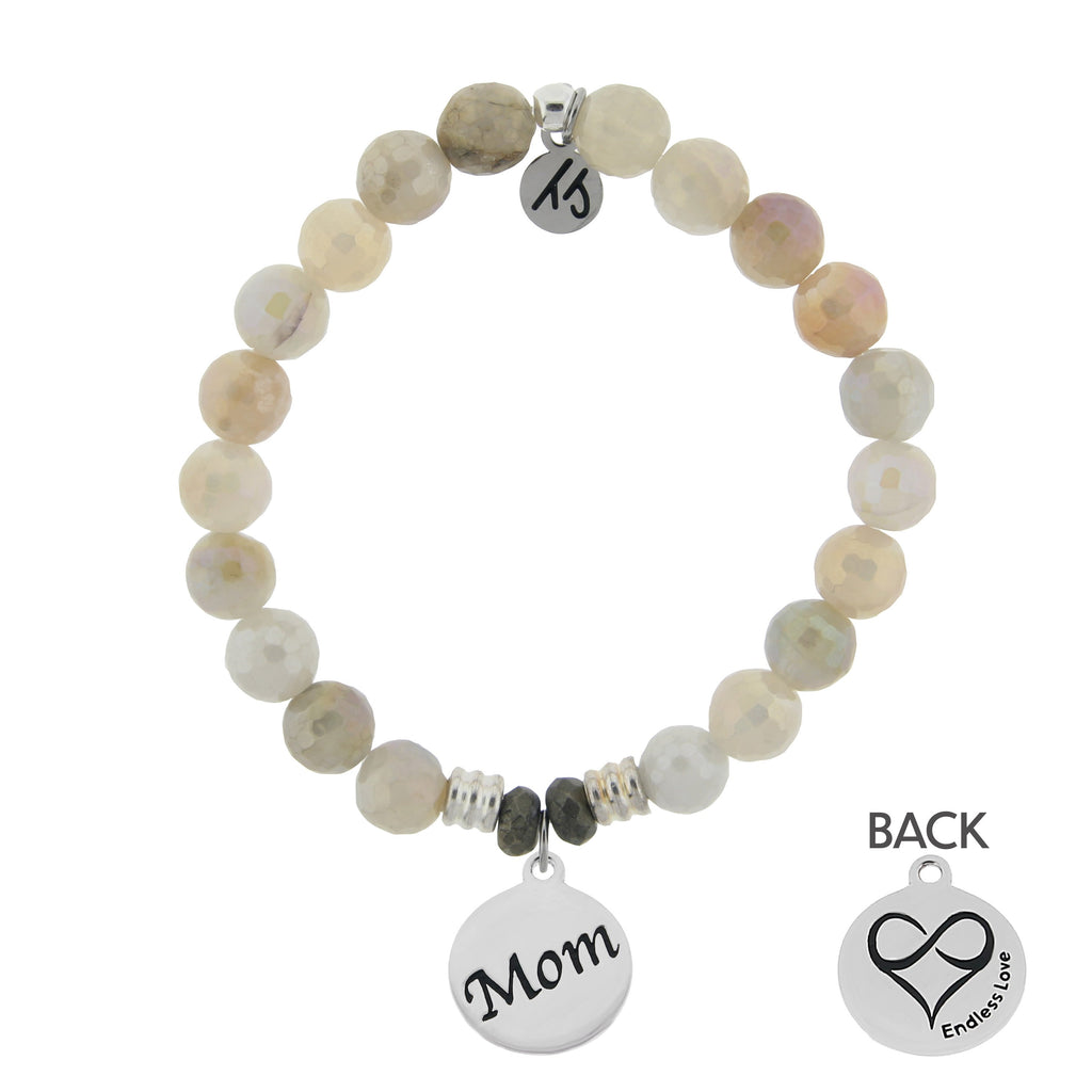 Moonstone Bracelet with Mom Endless Love Sterling Silver Charm