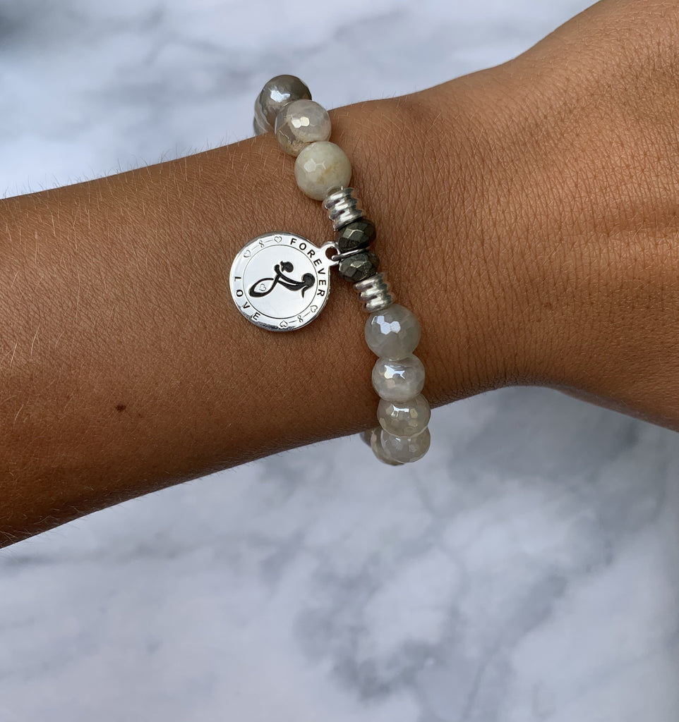 Moonstone Bracelet with Mother's Love Sterling Silver Charm