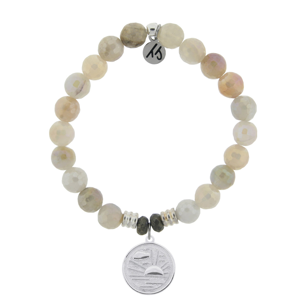 Moonstone Bracelet with New Day Sterling Silver Charm