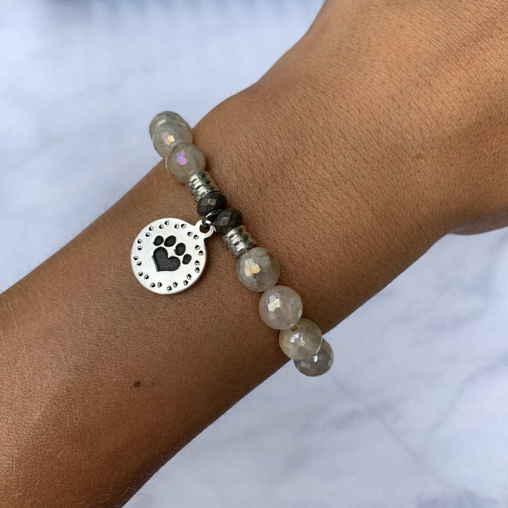 Moonstone Bracelet with Paw Print Sterling Silver Charm