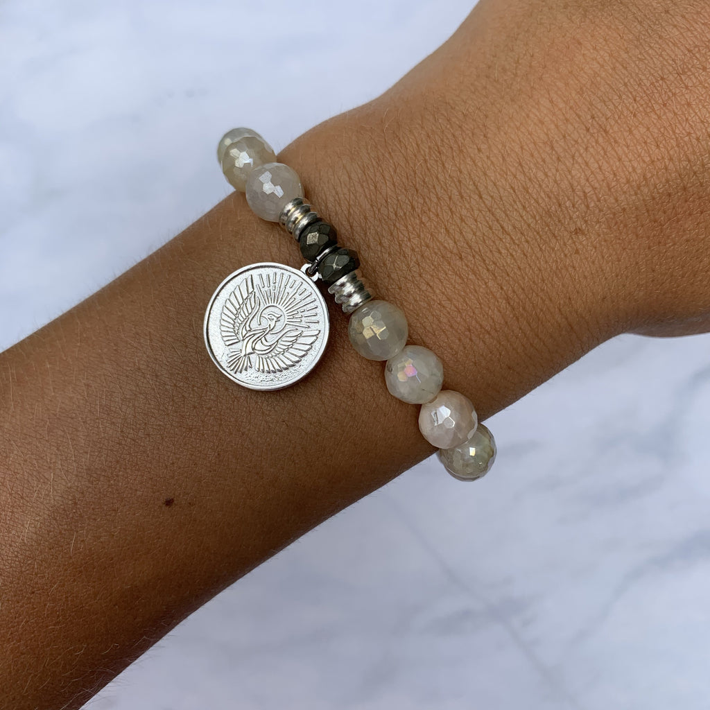 Moonstone Bracelet with Phoenix Sterling Silver Charm
