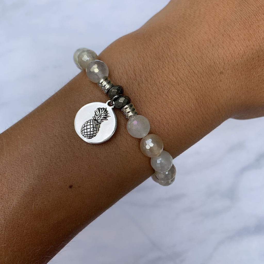 Moonstone Bracelet with Pineapple Sterling Silver Charm