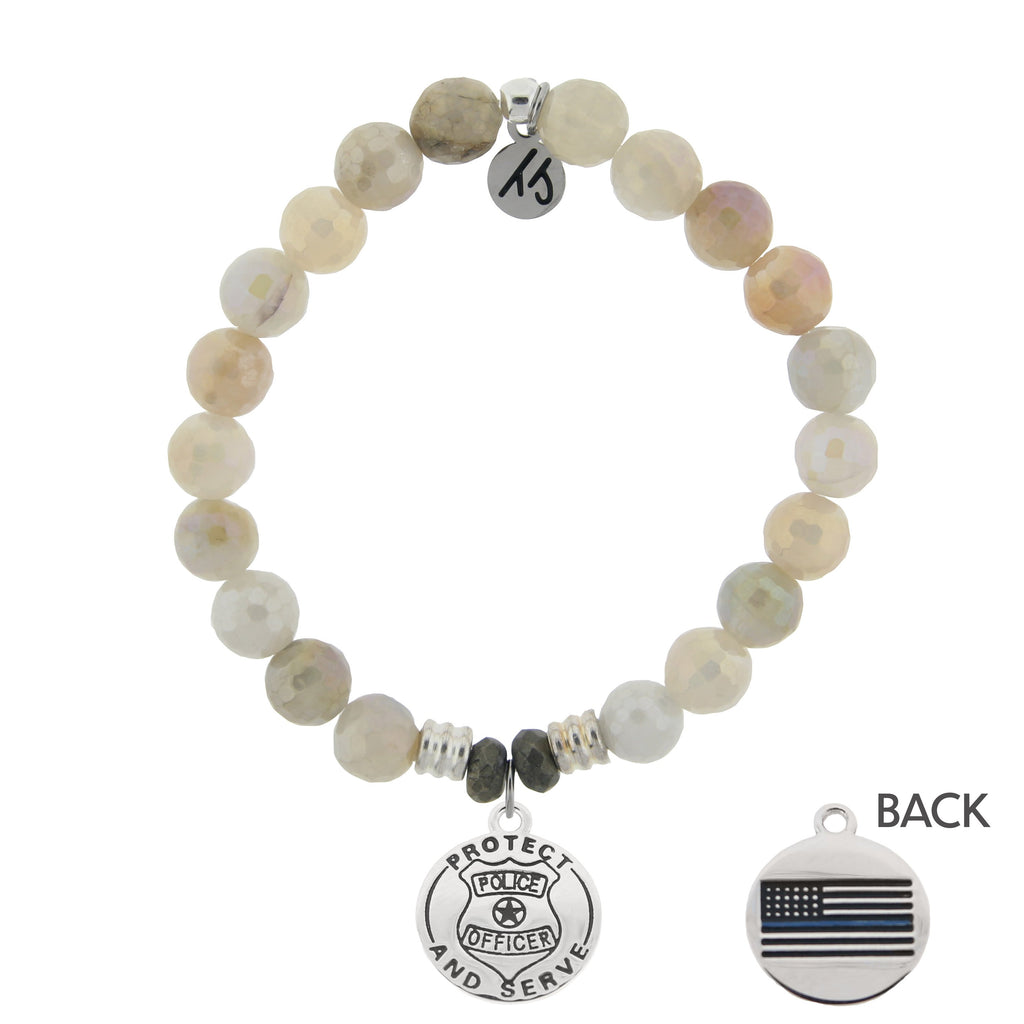 Moonstone Bracelet with Protect and Serve Sterling Silver Charm